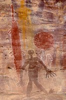 Aboriginal rock art in the Quinkan style, Split Rock site, depicting two crocodiles, jellyfish, a man and a kangaroo, Quinkan Reserve, Laura, Queensla...