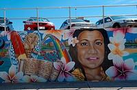 Graffiti art on esplanade wall Bondi Beach, Sydney, New South Wales, Australia