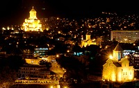 Night view of Tbilisi Old town with ancient churches, castle and president palace