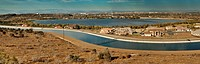 California Aqueduct over Lake Palmdale in Antelope Valley, San Andreas Fault area, Mojave Desert, California, USA