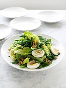 Plate of green bean and walnut salad