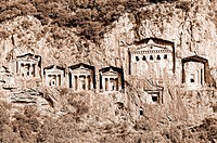 Lycian Rock Tombs Dalyan Turkey sepia,