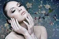 Adult pretty woman stylish portrait  Skin texture saved