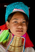 Portrait of a Karen Long Neck Hill Tribe Woman , Chiang Mai , Thailand