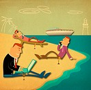 Business executives on the beach