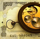 Pocket watch on Indian five hundred rupee note