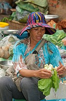 Junge Khmer Frau putzt frisches Gemüse an ihrem Stand auf dem lokalen Gemüsemarkt, Battambang, Kambodscha / Young Khmer woman cleaning fresh vegetable...