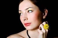Portrait of elegant girl with evening make_up