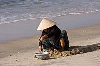 Vietnamesische Frau sucht am Strand von Mui Ne Krabben im Sand, Vietnam, Asien