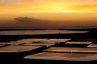 Sunset in Salinas Janubio, on the island of Lanzarote. Canary Islands, Spain.