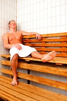 ESY-005481482 Man Relaxing in Sauna
