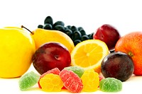 Colorful jelly and fresh fruit.