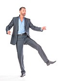 Full length portrait dancing businessman