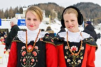 Switzerland, St  Moritz, traditional historical clothing