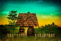 Fancy pastoral landscape with vintage cardboard added texture