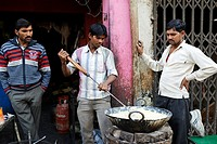 Cooking food in the streets of Orchha, Madhya Pradesh, India