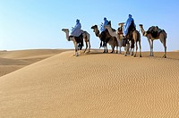 Tuaregs riding Camels; Tuareg Caravan; Libyan Arab Jamahiriya; Libyan Desert