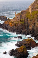 Abandoned Tin Mine near Botallack, UNESCO World Heritage Site, and rocky coast, Cornwall, England, United Kingdom, Europe