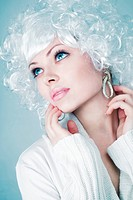 Fashion model with snow make-up