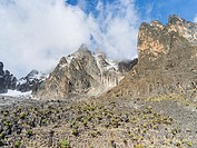 X8C-1928019 Mount Kenya national park in the highlands of central Kenya a UNESCO world heritage site The central part of Mount Kenya with Batian left .....