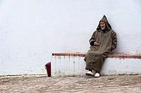 Man wearin traditional djellaba Chefchaouen, Rif region, Morocco