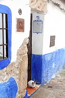 Blue house,Old town of Trujillo, Caceres province, Extremadura, Spain