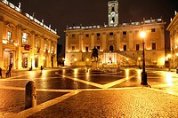 Piazza del Campidoglio, on the top of Capitoline Hill, with the facade of Palazzo Senatorio and the replica of the equestrian statue of Marcus Aureliu...