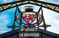 Spain, Barcelona, the sign of St. Josep de la Boqueria antique market in the old city center
