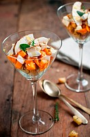 autumn toscan panzanella in a glass
