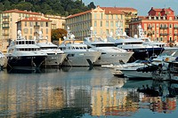 France, French Riviera, the tourist harbour of Nice