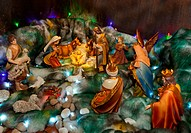 Christmas crib with figures and nativity