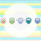 Birthday party owls set. invitation card for baby boy