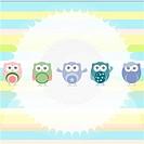 Birthday party owls set. invitation card for baby boy