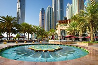 Dubai Marina, fountain in Marina district, Dubai, United Arab Emirates