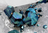 Carrara, Apuan Alps, Massa-Carrara Province, Tuscany, Italy3.55 mm group of blue oxidized Pyrite crystals