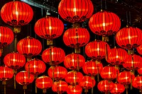 Chinese red lanterns, on display for Chinese New Year celebrations, Singapore.