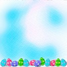 Pastel background with multicolored eggs to celebrate Easter