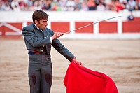 David Gil stabbing a bull Bullfight at Linares bullring, Linares, Spain, 15 march 2009