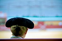 Silhouette of a bullfighter´s head wearing the traditional hat or ´montera´ Spain