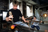 manufacturing of handcrafted glassblowed Christmas baubles, International Centre of Glassworks Art, Meisenthal, Moselle department, Lorraine region, F...