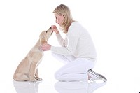Golden Retriever. Young woman inspecting the face of a puppy. Studio picture against a white background