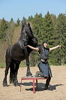 Friesian Horse and young woman during a show, trust between horse and human