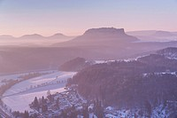 View from the spectacular rock formation Bastei (Bastion) in the national park Saxony Switzerland to the health resort Rathen (Oberrathen) near Dresde...