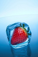 strawberry in ice cube