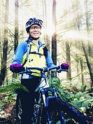 Japanese woman riding mountain bike