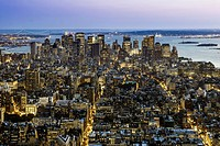 View from the Empire State Building to the south with the skyline of Lower Manhattan, Financial District, New York City, New York, USA, North America