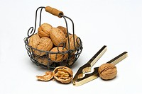 Walnuts in basket / (Juglans regia) / nutcracker