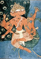 Painting of Arumugam holding weapons sitting on peacock