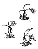 Set of flowers on tribal style. Vecto illustration