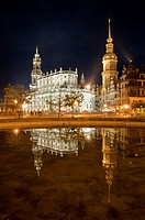 St. Trinity Cathedral and Royal Palace at night with a reflection in water, Dresden, Saxony, Germany, Europe